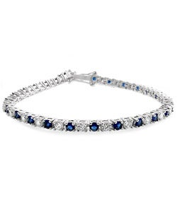 Kate Bissett Silvertone Blue-and-clear Cubic Zirconia Link Bracelet