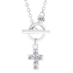 Kate Bissett Silvertone CZ Toggle Cross Necklace