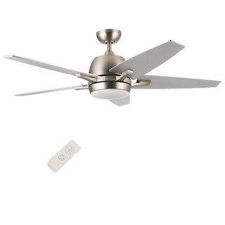 CO-Z Contemporary 52-inch Brushed Nickel Ceiling Fan with 5 Silver/ Walnut Plywood Blades