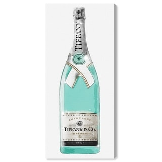 Oliver Gal 'Priceless Champagne Tall' Drinks and Spirits Wall Art Canvas Print - Teal, Turquoise
