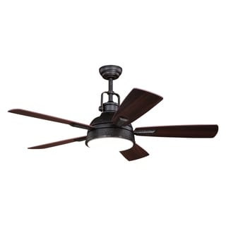 Walton 52 In. Bronze Loft Ceiling Fan with LED Light Kit and Remote - 52-in W x 19.75-in H x 52-in D