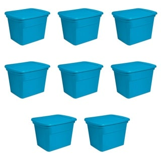 Case of 8 Blue Morpho Sterilite 18 Gallon Storage Totes