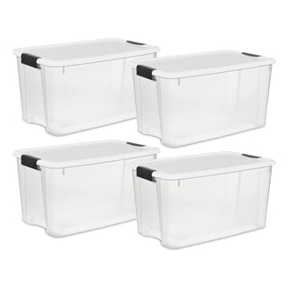 "Case of 4 Sterilite 70 Quart Ultra Latch Boxes - 16.25"" wide"