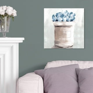 Oliver Gal 'Blue Flowers From Paris Square' Floral and Botanical Wall Art Canvas Print - Blue, White