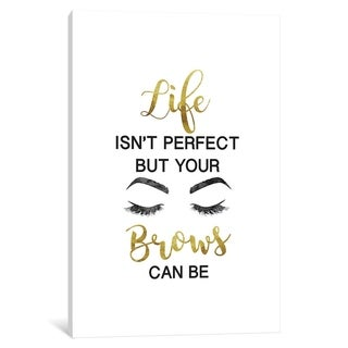 """iCanvas """"Life Isn't Perfect But Brows and Lashes in Gold"""" by Amanda Greenwood"""