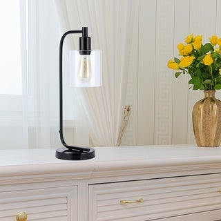 CO-Z 19-Inch Rustic Desk Lamp with Clear Glass Shade