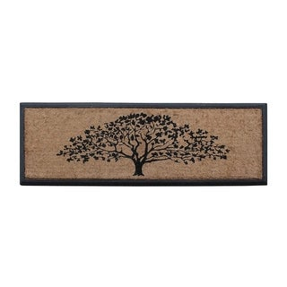 "A1HC First Impression Hand-Crafted Rubber Coir Life of Tree Double Door Mat,16""X48"""
