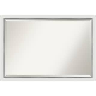 Eva White Silver Narrow Bathroom Vanity Wall Mirror