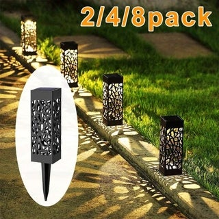 2Pc Solar Powered LED Garden Lights Hollow-out Lawn Lights Automatic Led for Patio Yard Garden Warm White Cold White
