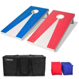 GoSports Light Regulation Size Solid Wood Cornhole Set - Includes Two 4' x 2' Boards, 8 Bean Bags, Carrying Case and Game Rules