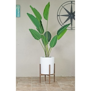 "Large Tall White Ceramic Pot 12"" with Wood Stand Dark Walnut Color"