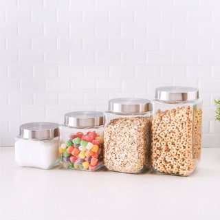 4 Piece Canister Set with Stainless Steel Lids