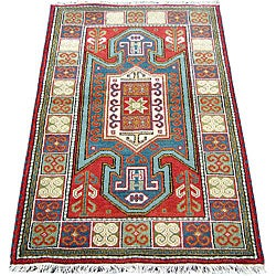 Indo Kazak Hand-knotted Red/Gold Rug (3' x 5')
