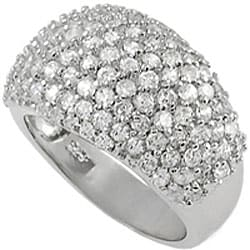 Tressa Sterling Silver Pave-set Cubic Zirconia Dome Ring