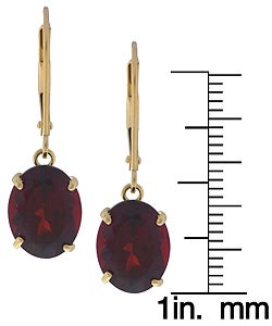 Kabella 14k Yellow Gold Oval Garnet Leverback Earrings