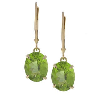 Kabella 14k Yellow Gold Oval Peridot Leverback Earrings