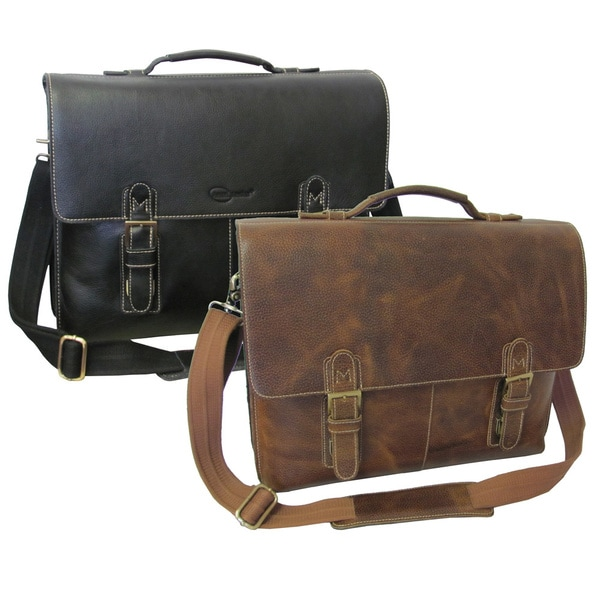 Amerileather Classical Leather Organizer Messenger Briefcase