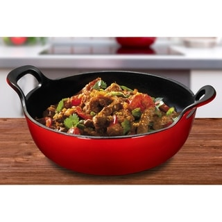 Enameled Cast Iron Balti Dish with Wide Loop Handles, 3 Quart