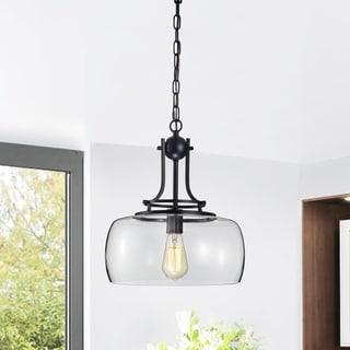 Karha Single Light Matte Black Pendant with Glass Shade
