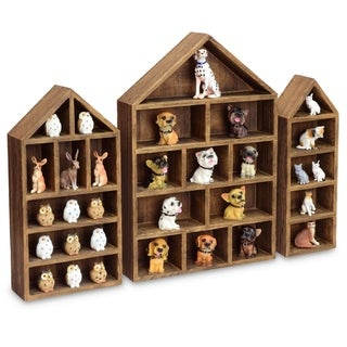 House-Shaped Wooden Shadow Cubby Display Shelf, Set of 3