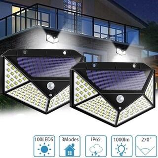 2Pcs 100 LED Motion Sensor Solar Light Waterproof Wall Lamp Outdoor Home Security Night Lighting 3 Modes for Garden