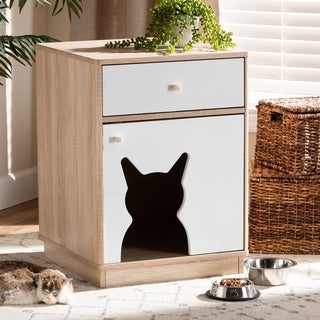 Modern and Contemporary 1-Door Wood Cat Litter Box Cover House