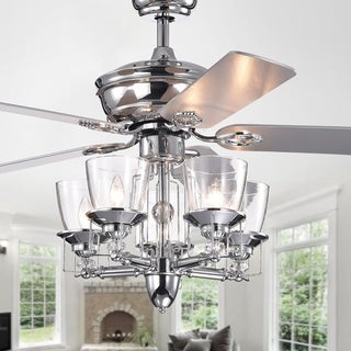 Monothan Chrome Lighted Ceiling Fan with Glass Cup Branched Chandelier (Includes Remote and 2 Color Option Blades)