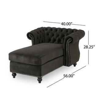 Lancelot Modern Glam Velvet Chesterfield Chaise Lounge by Christopher Knight Home
