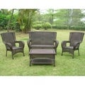 International Caravan 4-piece Outdoor Settee Furniture Set
