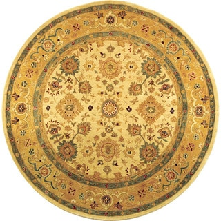 Handmade Heirloom Ivory/ Gold Wool Rug (6' Round)