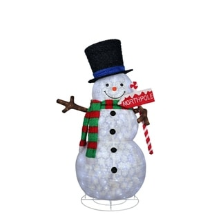 """Puleo International 84"""" Snowman with North Pole Sign White 300 LED Lights"""