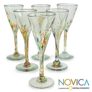 'Multicolor Specks' Champagne Flutes Set (Mexico)