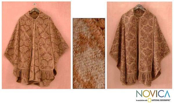 'Desert Bloom' Reversible Wool Ruana Cloak (Peru)
