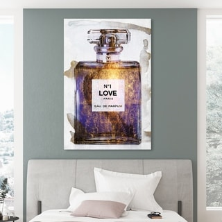 Oliver Gal '23834 N1 Purple Love Paris' Fashion and Glam Wall Art Canvas Print - Purple, Gold