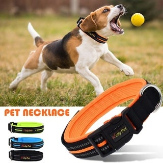Reflective Adjustable Dog Collar Non-Sticking Non-Wool Pet Collar Necklace S/M/L for Small Pets Large Dogs