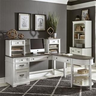 Allyson Park Wirebrushed White L-shaped Writing Desk Set