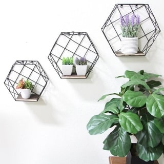 Hexagon wall-mounted metal wire hanging storage shelves, Black, 3pcs