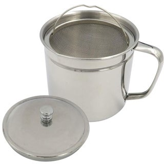 Evelots Oil Storage Can Strainer-Container-Bacon Grease Keeper-Stainless-1.25 QT - Set of 1
