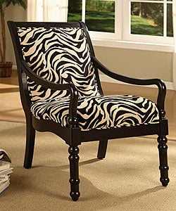 Turned Leg Zebra Print Arm Chair