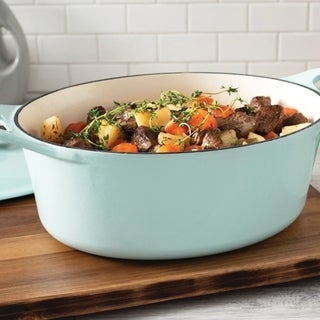 Rachael Ray Cast Iron Oval Dutch Oven, 6.5-Quart, Light Blue Shimmer