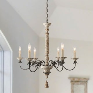 The Gray Barn Ingleside Shabby-Chic French Country Chandelier Retro-white 6 Lights Chandelier