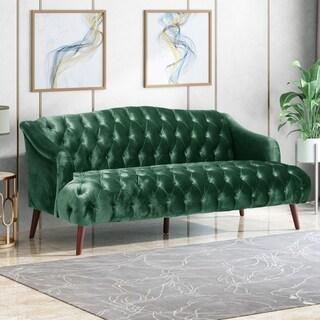 Adelia Modern Glam Tufted Velvet 3 Seater Sofa by Christopher Knight Home