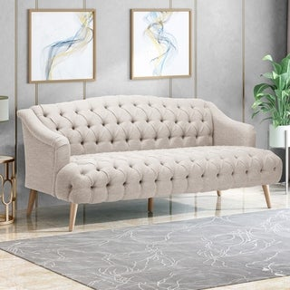 Adelia Contemporary 3 Seater Tufted Fabric Sofa by Christopher Knight Home