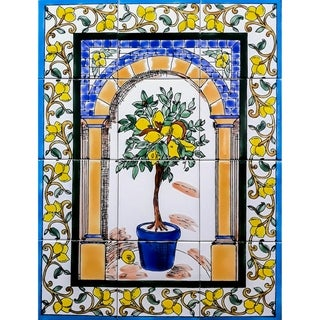 Lemon Tree 12 Tiles Ceramic Wall Mural Art
