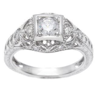 Tressa Collection Sterling Silver Vintage Art Deco CZ Bridal & Engagement Ring