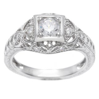 Journee Collection  Sterling Silver Vintage Art Deco CZ Bridal & Engagement Ring