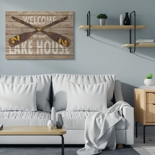 Stupell Industries Welcome Lake House Country Home Word Design,16x20, Proudly Made in USA - Multi-Color