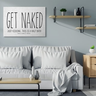 Stupell Industries Get Naked Funny Word Bathroom Black and White Design,16x20, Proudly Made in USA - Multi-Color