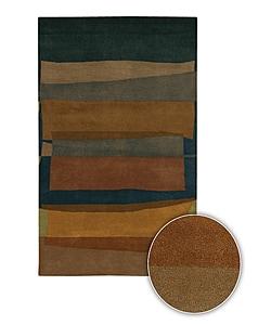 Dark Abstract Hand-tufted Mandara Contemporary Wool Rug (5' x 7'6)