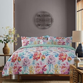 Studio8 4 -Piece Dream Comforter Set 100% Cotton, Watercolor Floral Printed, 1 Comforter, 2 Shams and 1 Pillow